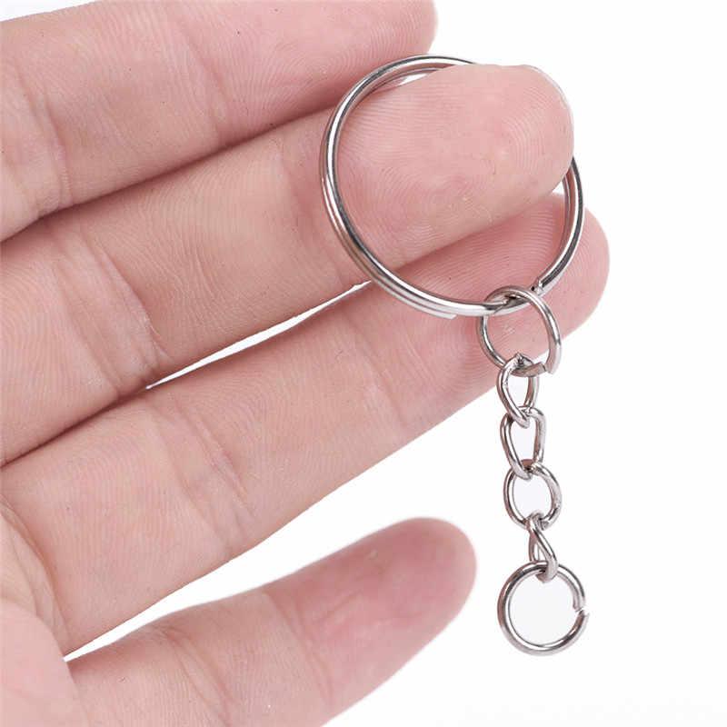 50 cái Đánh Bóng Bạc Màu 25 mét Keyring Keychain Chia Nhẫn với Chuỗi Ngắn Vòng Chìa Khóa Phụ Nữ Người Đàn Ông TỰ LÀM Móc Chìa Khóa chuỗi Phụ Kiện
