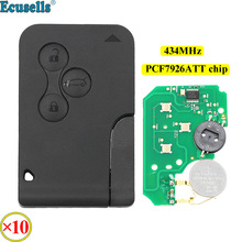 10pcs/lot 3 Buttons Remote Key 433MHz PCF7947 Chip ID46 for RENAULT Megane Scenic 2003 2008 Smart Card Fob