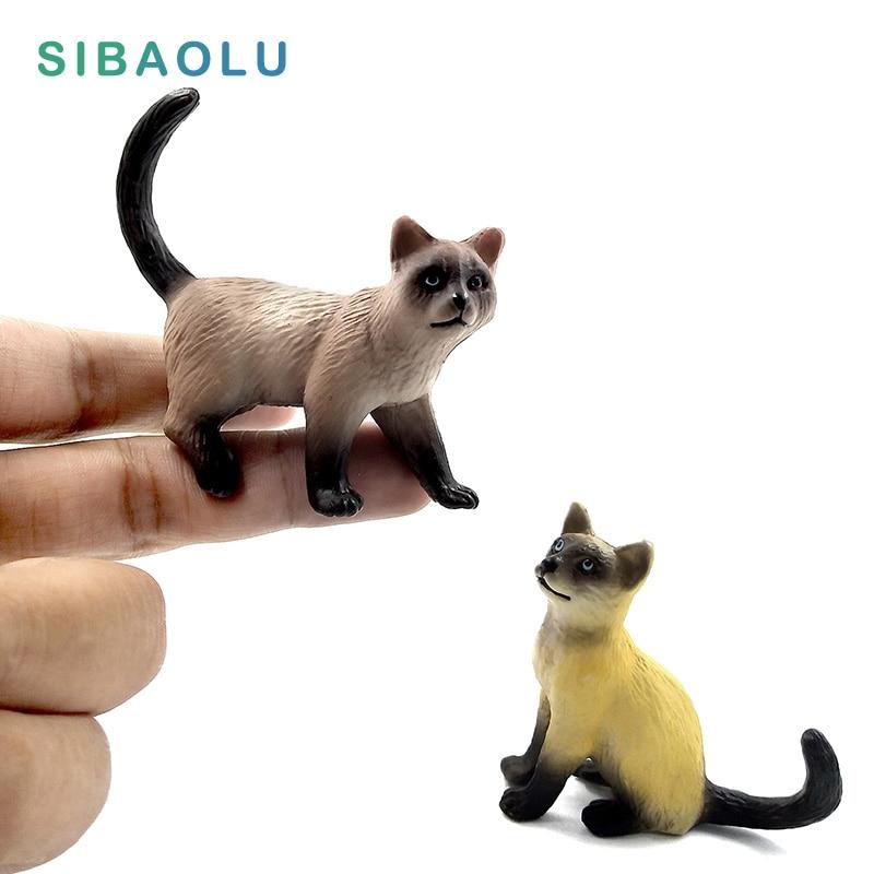 Simulation Mini Cat Figurine Animal Model Bonsai Home Decor Miniature Fairy Garden Decoration Accessories Modern Statue Figure