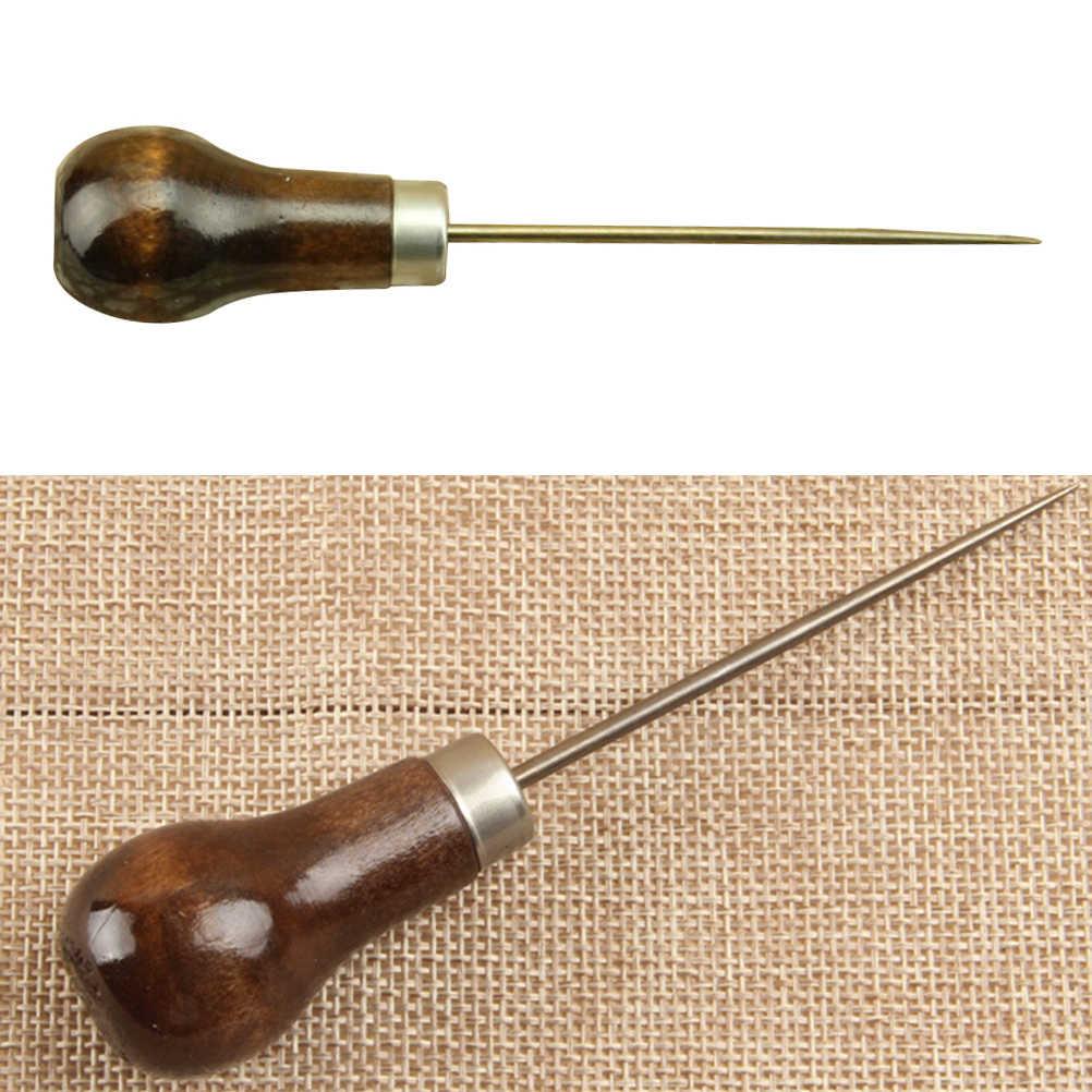 1 Pc profesjonalna skórzana drewniana rękojeść szydła narzędzia do szycia skórzanego szycie narzędzie szydełkowe 11cm