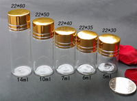 Wholesale 10 Pcs 14ml Small Clear Empty Bottles Glass Vials With golden Screw Caps 22*60MM