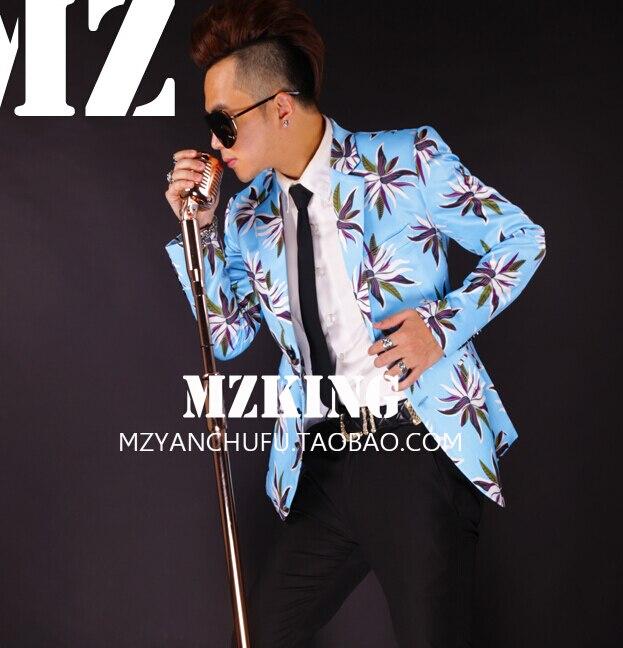 Плюс размер мужской блейзер лузер Черный Синий Цветы костюм костюмы GD мужчины тонкий ночной клуб мужчины певица костюм формальное платье