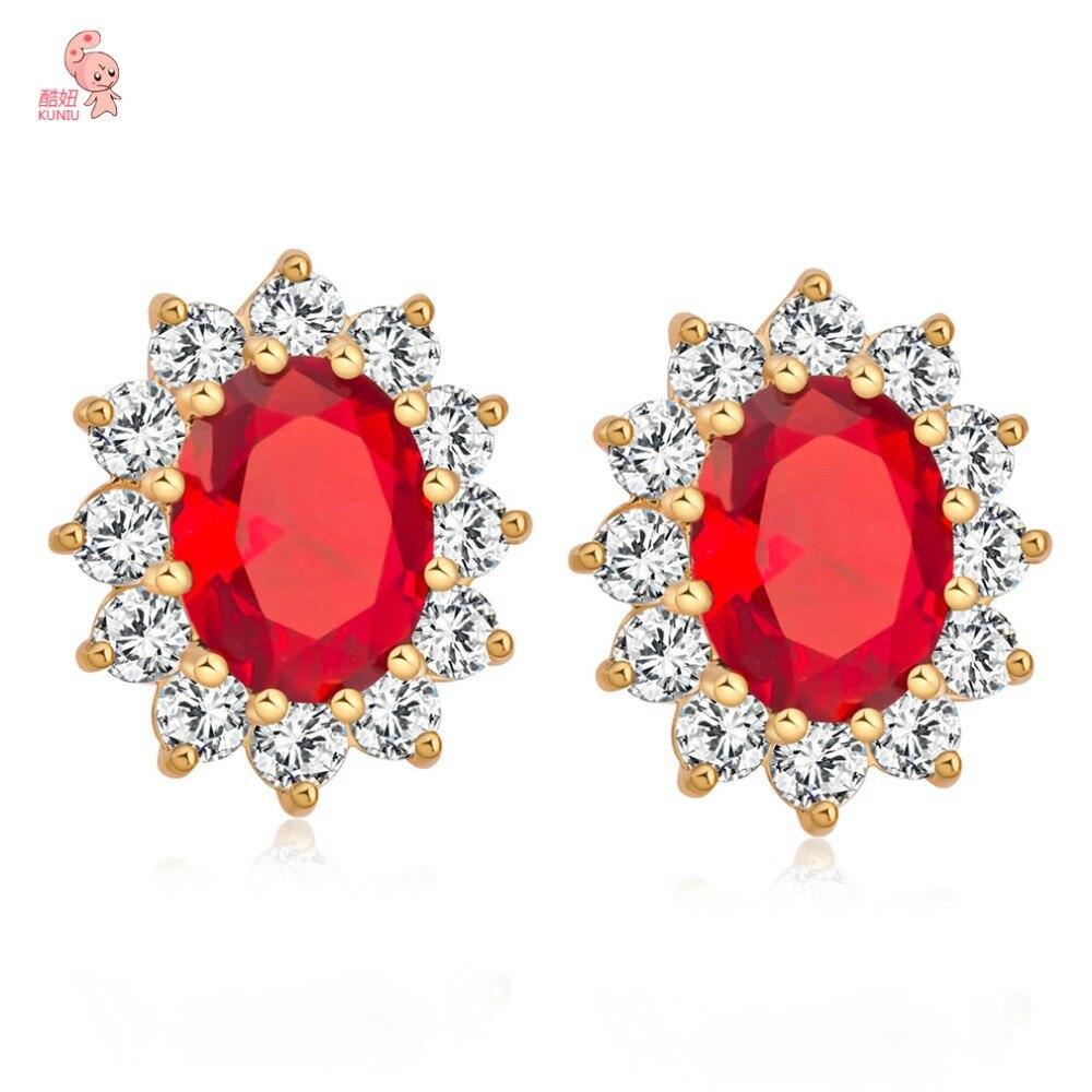 Kuniu Jewelry 2015 High Quality Women Wedding Stud Earrings Studded Big  Oval Blue & Red Cz