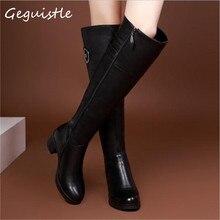 Mode Frauen Kniehohe Stiefel Winter Warme Stiefel Einfarbig Reitstiefel Frauen Winter Stiefel EUR Size35-40
