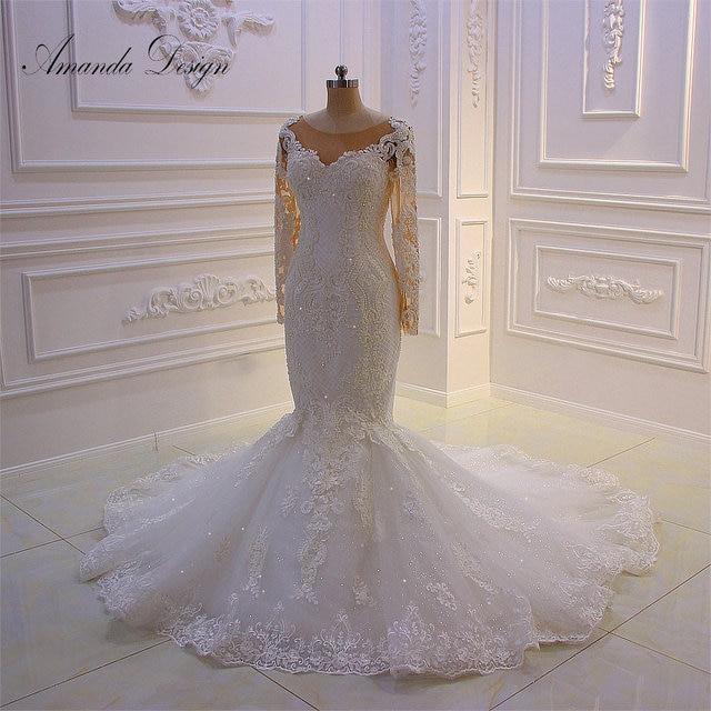 Amanda Design robe mariee O neck Long Sleeve Lace Appliqued Pearls Wedding Dress Customized