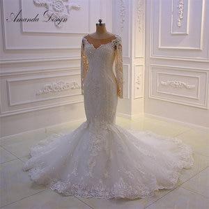 Image 1 - Amanda Disegno robe mariee O Collo A Maniche Lunghe In Pizzo Appliqued Perle Abito Da Sposa Su Misura