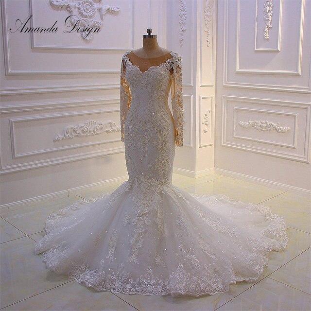 Amanda Disegno robe mariee O Collo A Maniche Lunghe In Pizzo Appliqued Perle Abito Da Sposa Su Misura