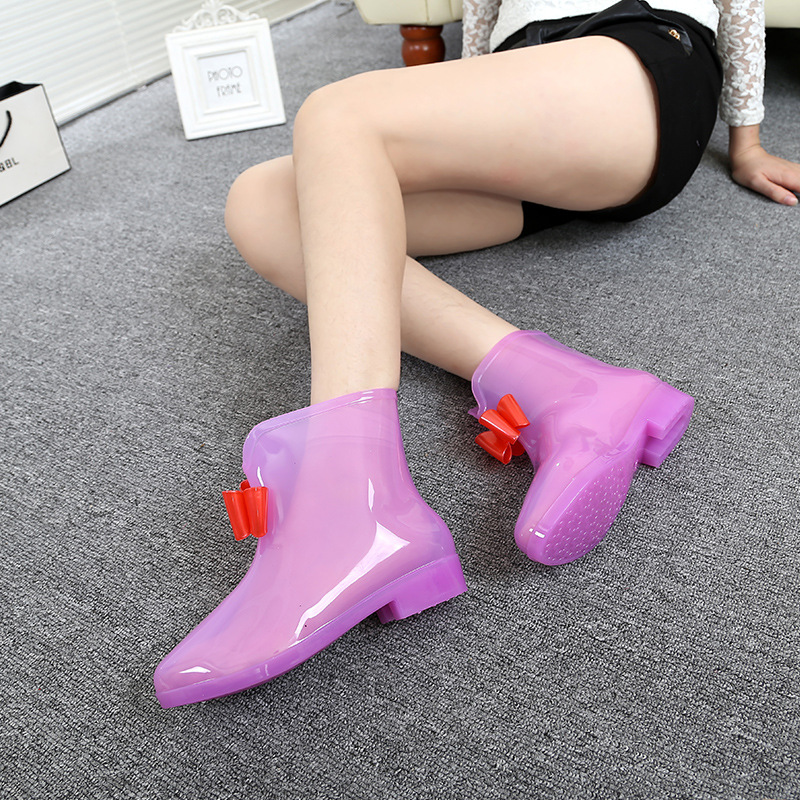 Fashion Women Girls Shoes Rain Boots Bow Jelly Candy Color Transparent Waterproof platform Boots Female Rubber Flats Water Shoes юбка candy rain c15ab5688 2015