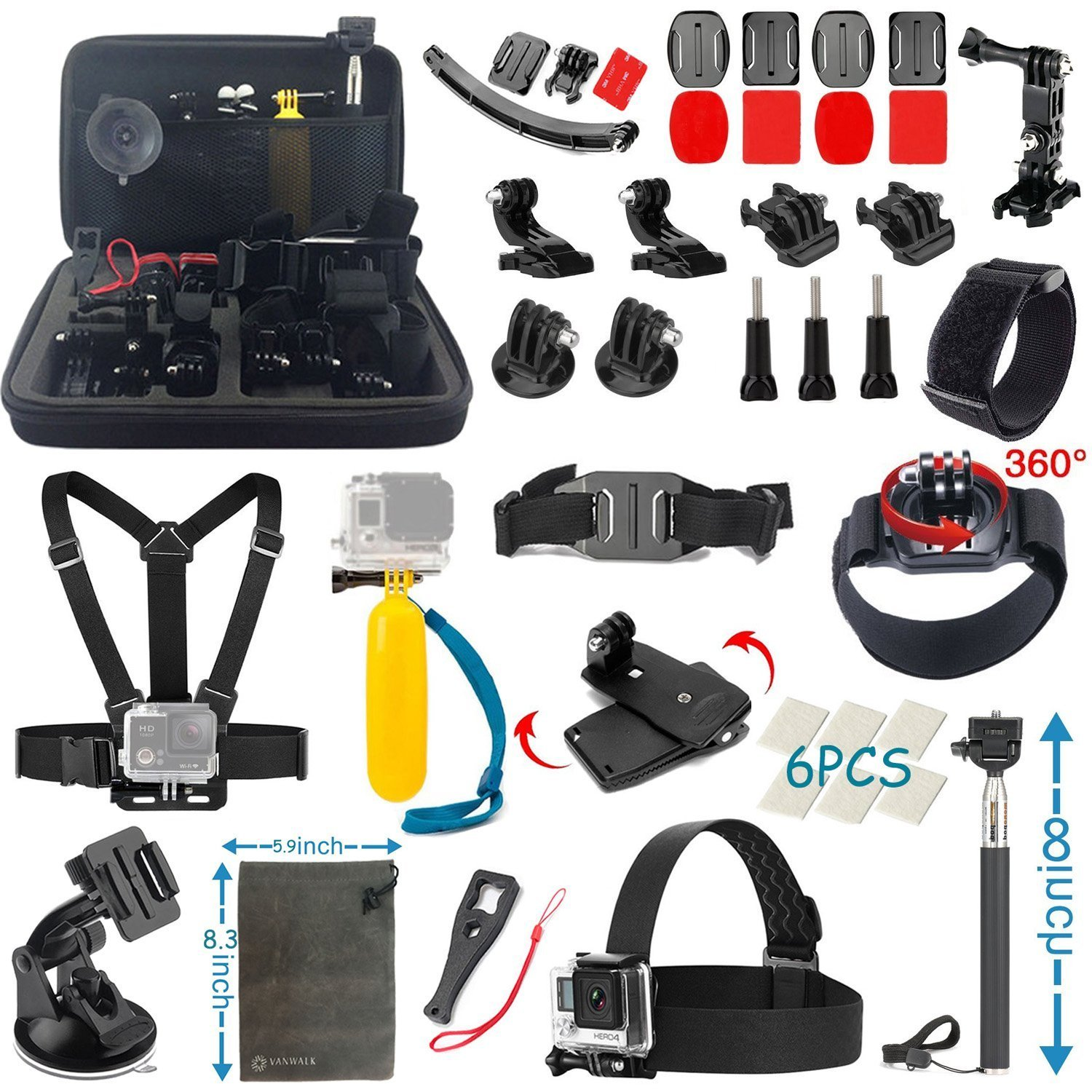 22 in 1 Essentials Accessories Kit for Gopro Hero 4 3 3 2 1 Camera Chest