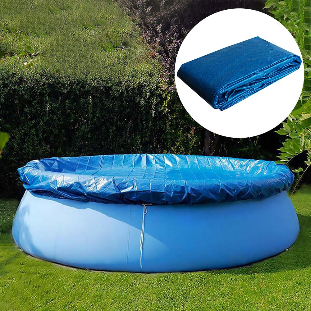Blue Round Swimming Pool Cover Dust Rainproof Tarpaulin Durable For Family Garden Pools & Accessories