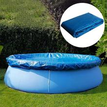 Blue Round Swimming Pool Cover Dust Rainproof Pool Cover Tarpaulin Durable For Family Garden Pools Swimming Pool & Accessories swimming pool cover spa rainproof dust covers for outdoor swim sports gym cover accessories