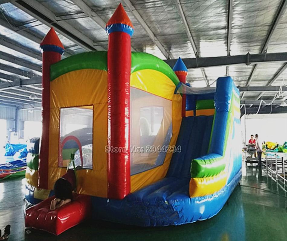 Personalizado PVC comercial Castelo inflável com escorregador bouncer combo Air Blower para ao ar livre