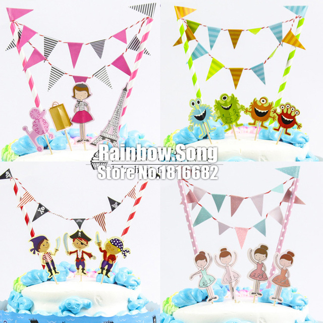 Party decoration dessert table birthday cake toppers flag + brand + ...