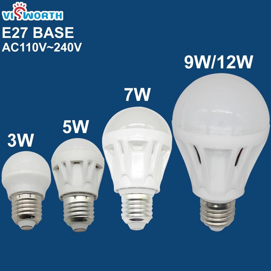 VisWorth E27 Led Bulbs 3W 5W 7W 9W 12W Led Light Ac 110V 220V 240V SMD2835 Home Led Lamp Warm Cold White SpotLight