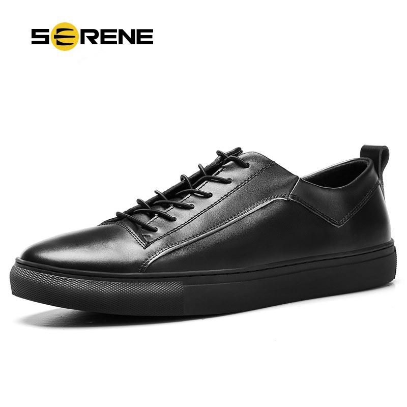 SERENE Brand 2017 Men White Shoes Spring Autumn Casual Elastic Band Leather Casual Shoes Size38-44 Daily Wear Moccasins European мужские ботинки spring autumn hightop size38 45 2