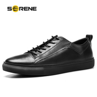 SERENE Brand 2017 Men White Shoes Spring Autumn Casual Elastic Band Leather Shoes Size38 44 Daily