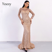 Yesexy 2019 Sexy O Neck Long Sleeve Glitter Women Party Maxi Dress Bodycon Elegant Geometric Squins Female Dresses VR8581 1