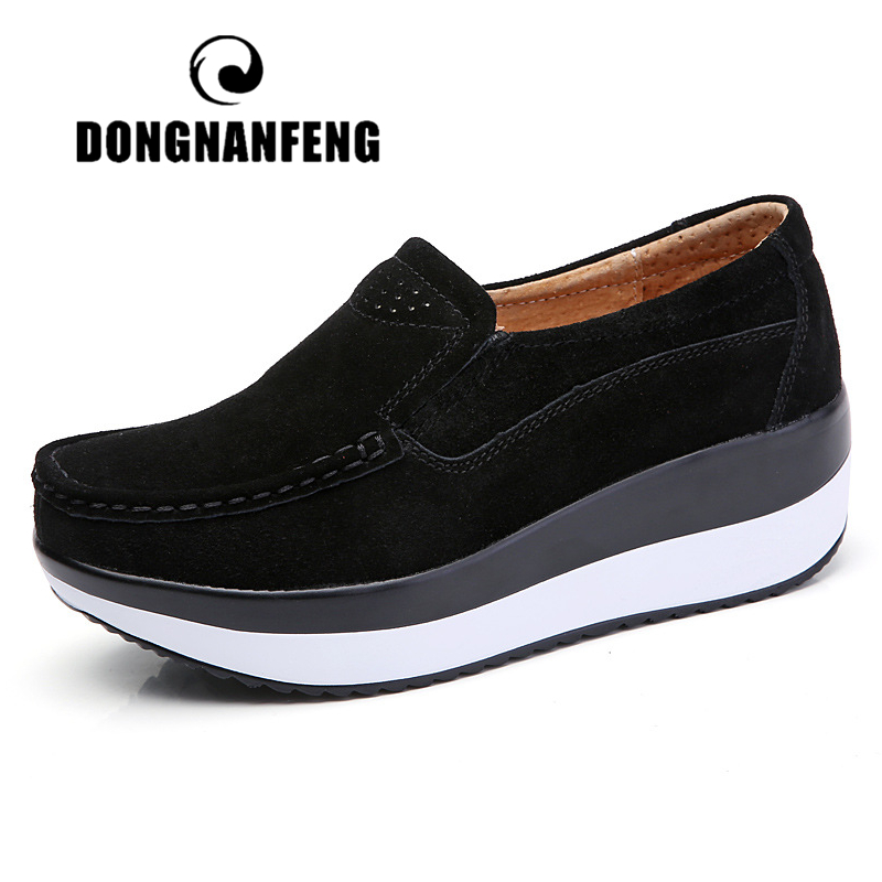 DONGNANFENG Women's Woman Female Ladies Cow Suede Genuine Leather Shoes Flats Loafers Platform Moccasins Elegant Slip On PX-3213