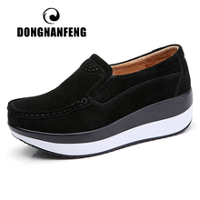 DONGNANFENG Womens Woman Female Ladies Cow Suede Genuine Leather Shoes Flats Loafers Platform Moccasins Elegant Slip On PX 3213
