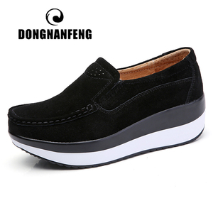 Image 1 - DONGNANFENG Womens Woman Female Ladies Cow Suede Genuine Leather Shoes Flats Loafers Platform Moccasins Elegant Slip On PX 3213