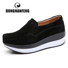 Dongnanfeng mocassins femininos de camurça de couro legítimo, loafers, plataforma, slip on, elegantes, para mulheres, PX 3213