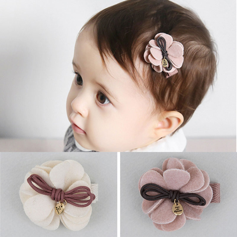 MeryYuer New Cute Girls Hair Clips Woolen Flower Safe Hairpins Child Hair Barrette Kids Hair Accessories