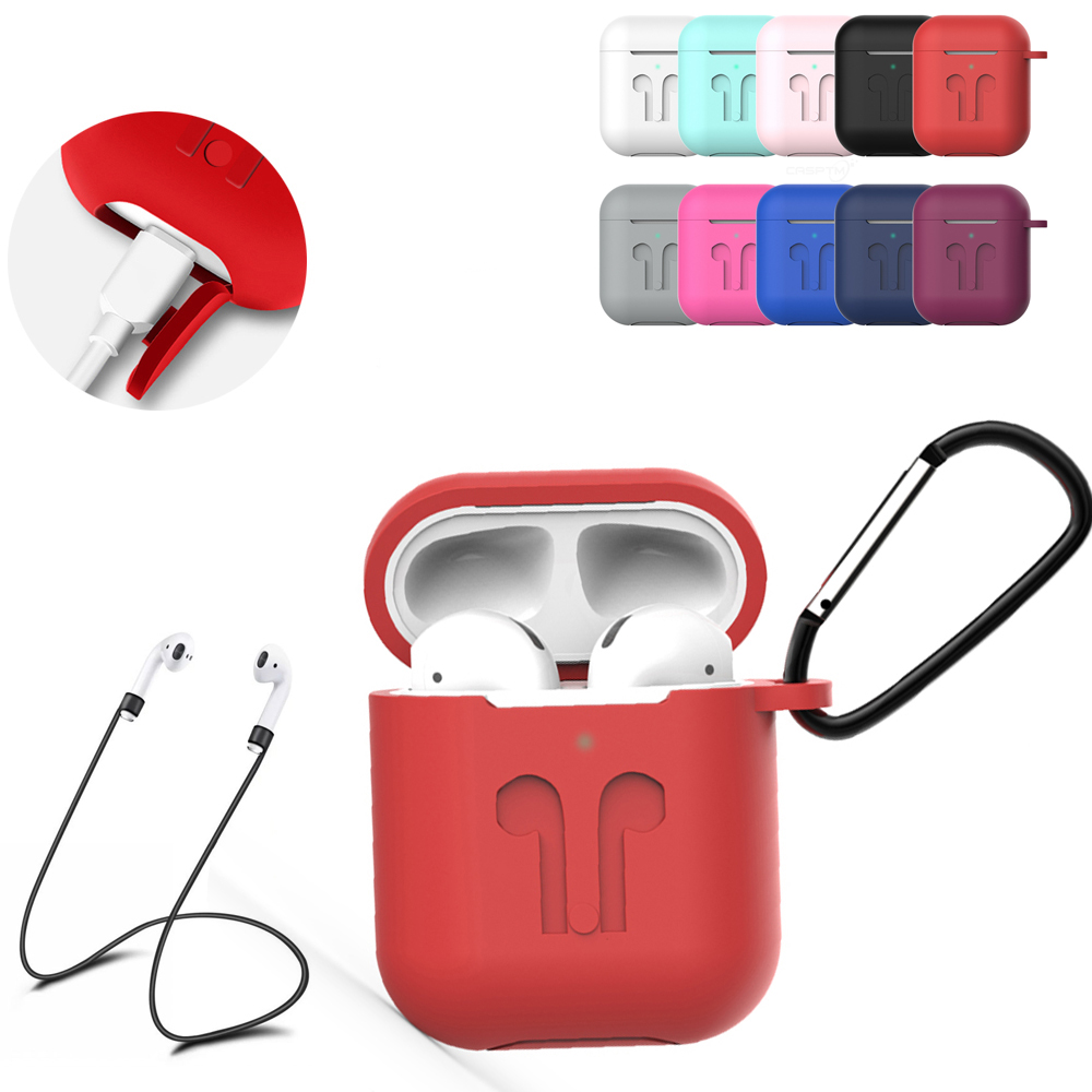 Soft Silicone Case Cover For Apple Airpods Headphones Pouch Bag Shockproof Earphone Anti Lost Cover For Air Pods 1 2 Accessories