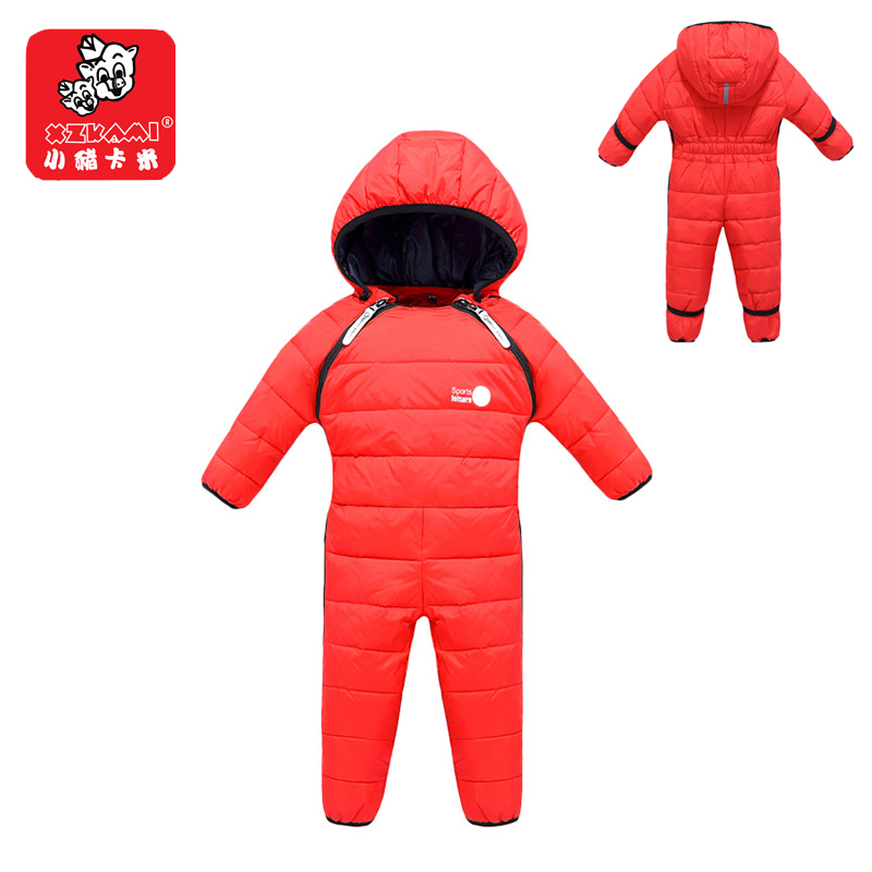 XZKAMI -30 Degrees Winter Toddler Boy Girl Duck Down Jacket Infant Baby Rompers Children's Jumpsuit Snowsuit One-pieces Clothing