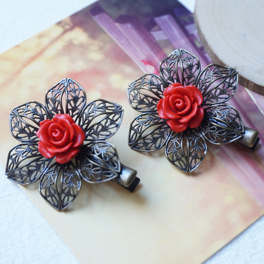 Red flower Hair Clips Alligator Clip woman Rose carved vintage Hairpins Headwear boho Hair Accessories