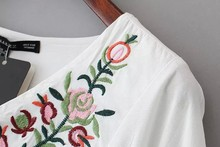 Elegant sweet floral Embroidery white Dress