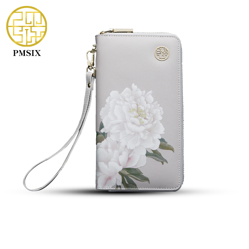 2017 Pmsix Floral Printing Chinese Style Cattle Split Leather Wallet Long Zip Wristlet Bag Brand Design