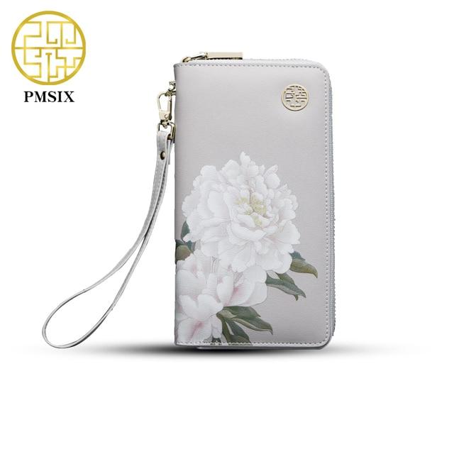 2017 pmsix с цветочным принтом китайский Стиль крупного рогатого скота Разделение кожаный бумажник Длинные Zip Wristlet сумка бренд Дизайн Повседневное кошелек 420042