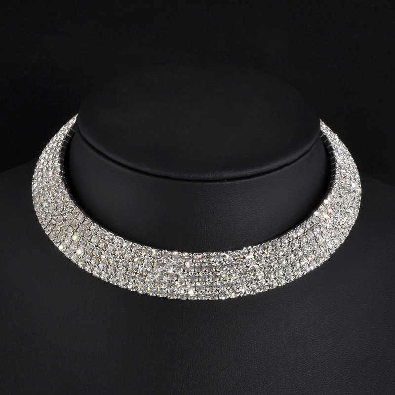 5 стилей Стразы колье ожерелье крутящийся ошейник женские массивные украшения