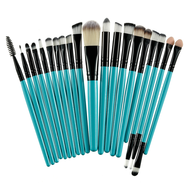 20Pcs Professional Makeup Brushes Set Powder  Eyeshadow Make Up Brushes Cosmetics Soft Synthetic Purple+Brown 10