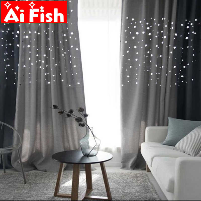 Korean Hollow Stars Thick Shade Curtain For the Living Room Navy Blue Grey Coffee and Beige Linen Fabric Window Cloth DF053#20