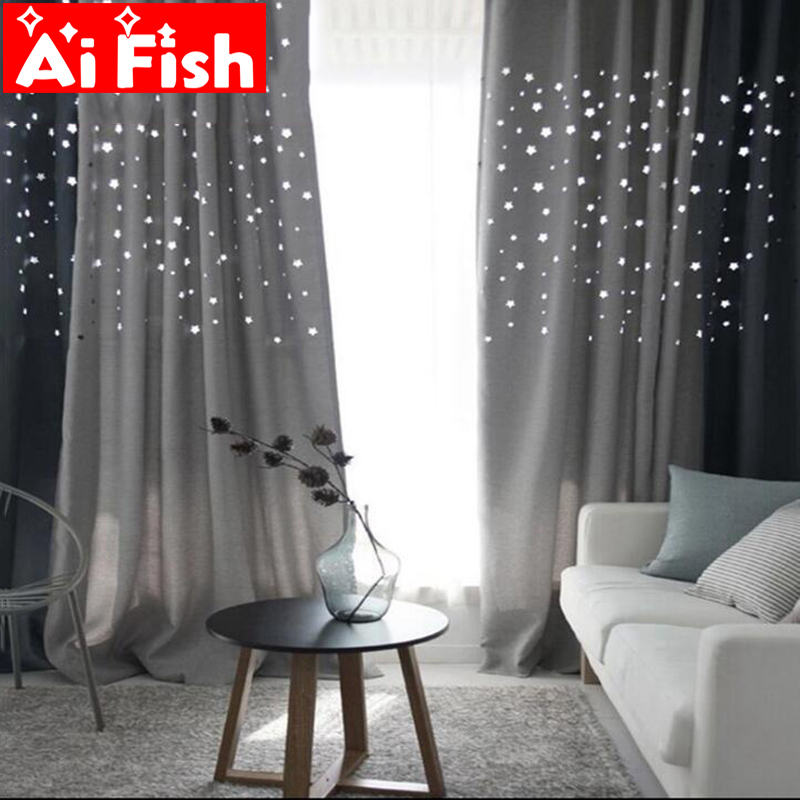 Korean Hollow Stars Thick Shade Curtain For the Living Room Navy Blue Grey Coffee and Beige Linen Fabric Window Cloth DF053#20Korean Hollow Stars Thick Shade Curtain For the Living Room Navy Blue Grey Coffee and Beige Linen Fabric Window Cloth DF053#20