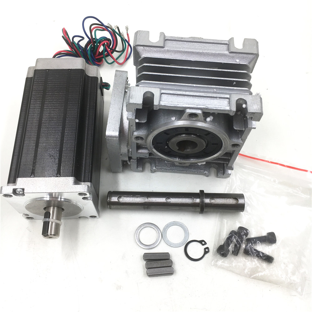 Nema23 Stepper Motor L112mm 4.2A Geared Ratio 7.5:1 Worm Gearbox Speed Reducer Kit for CNC Router Machine planetary nema23 geared stepper motor l112mm gearbox ratio 30 1 90nm stepper speed reducer cnc router engraver