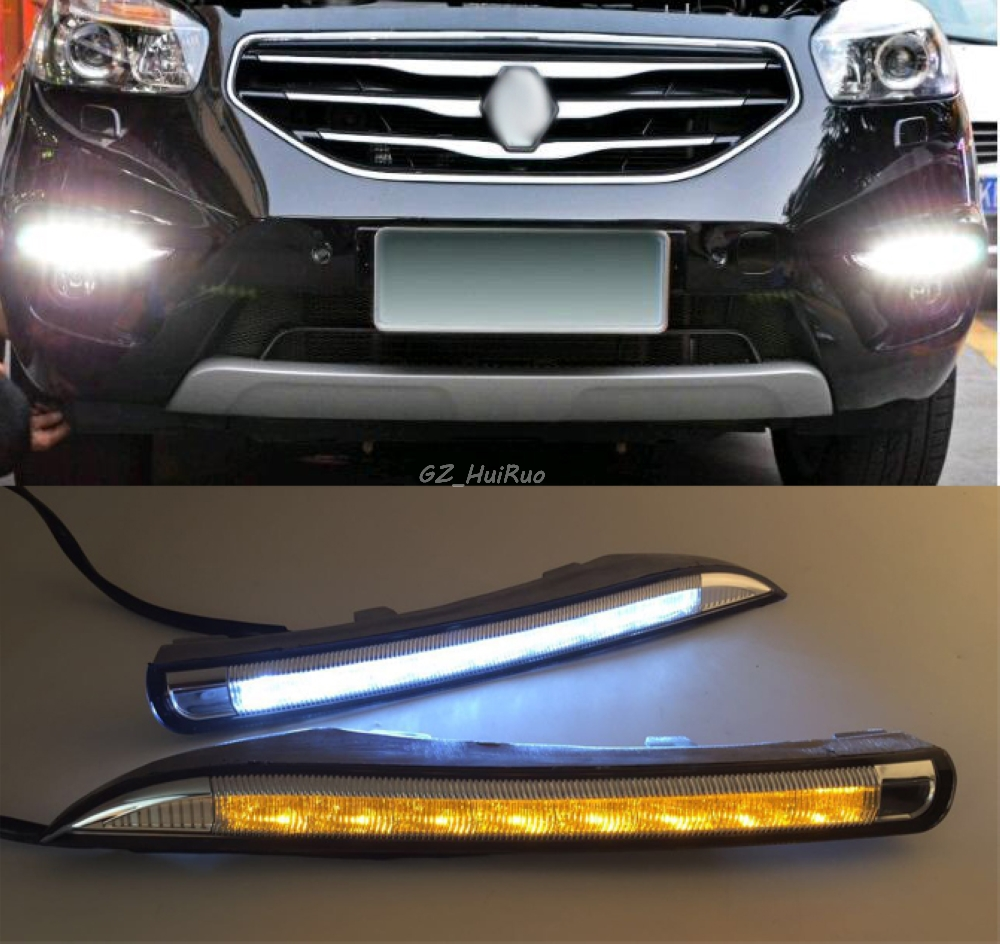 Turn Signal and dimming style Relay Waterproof LED DRL Driving Daytime Running Day Fog Lamp Light For Renault Koleos 2012-2014 led auto car drl daytime running lights gloss style fog lamp with turn off and dimmer function case for 2012 ford focus 3
