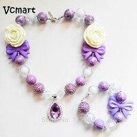 Vcmart Sofia Princesa Jóias Roxo Teardrop Amule Pingente Colar Chunky Bubblegum Beads Colar Braclet Conjunto Presente de Aniversário