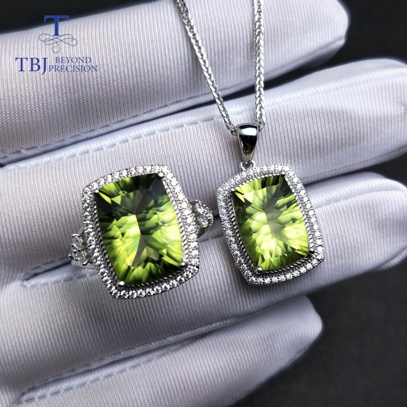 TBJ, grand ensemble de bijoux avec coussin de topaze vert olive brillant 10*14mm pendentif et bague en argent sterling 925 pour les femmes meilleur cadeau