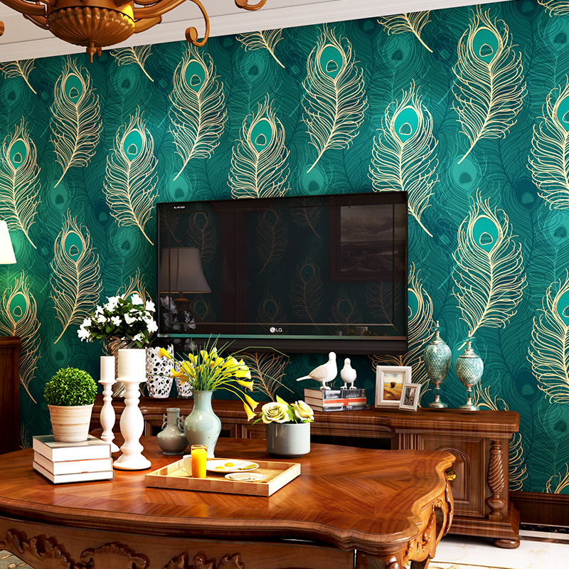 Chinese Style Green Peacock Feather Wallpaper Roll Non-woven Bedroom Living Room TV Background Wall Paper Papel De Parede 3D beibehang peacock wallpaper paper mural wall paper roll papel de parede 3d blue tv bordered for living room bedroom tv backdrop