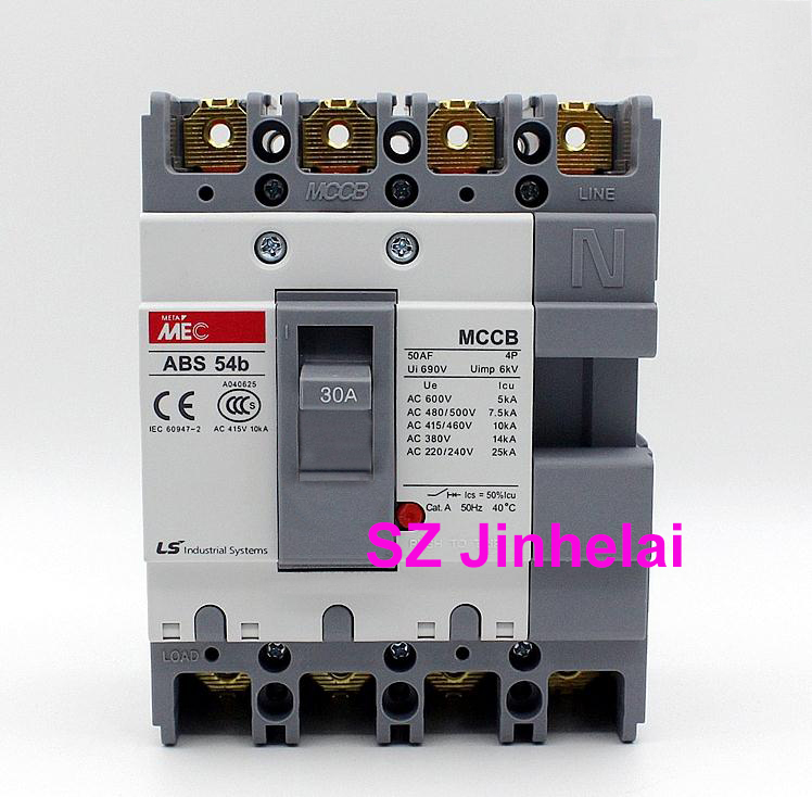 цена ABS54b Authentic original LS ABS 54b Molded case circuit breaker ABS-54B Air switch 4P 5A/10A/15A/20A/30A/40A/50A