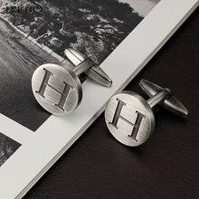 Запонки lepton в виде букв h алфавита для мужчин посеребренные