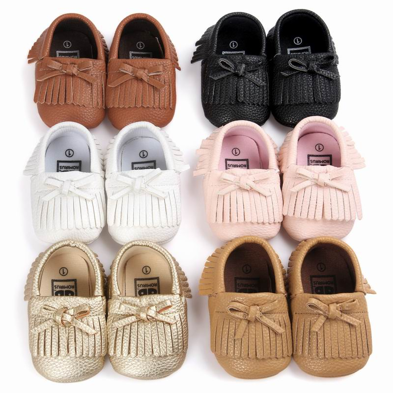 Baby Boy Girl Baby Moccasins Soft Moccs Shoes Soft Soled Non-slip Footwear Crib Shoes New PU Suede Leather Newborn