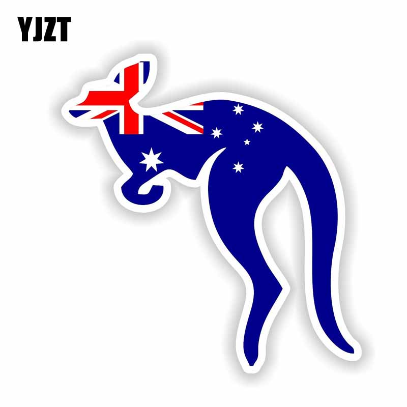 YJZT 12.4CM*11.7CM Animal Australia Flag Kangaroo Car Sticker Reflective Decal 6-1740