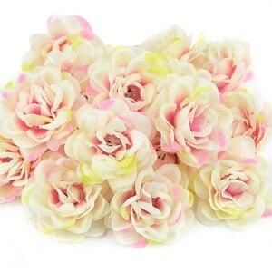 Image 2 - 100Pcs 7 ซม.Roseดอกไม้ประดิษฐ์Roseดอกไม้สำหรับงานแต่งงานตกแต่งDIYพวงหรีดอุปกรณ์เสริมหัตถกรรมปลอมดอกไม้
