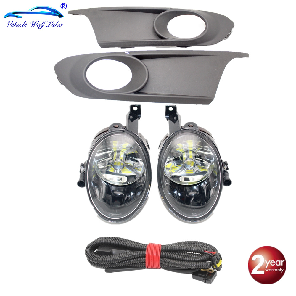 LED Light For VW <font><b>Jetta</b></font> 6 A6 MK6 2011 2012 2013 2014 Car-styling Front LED Fog Light Fog Lamp Fog Light Grille And Wire Assembly image
