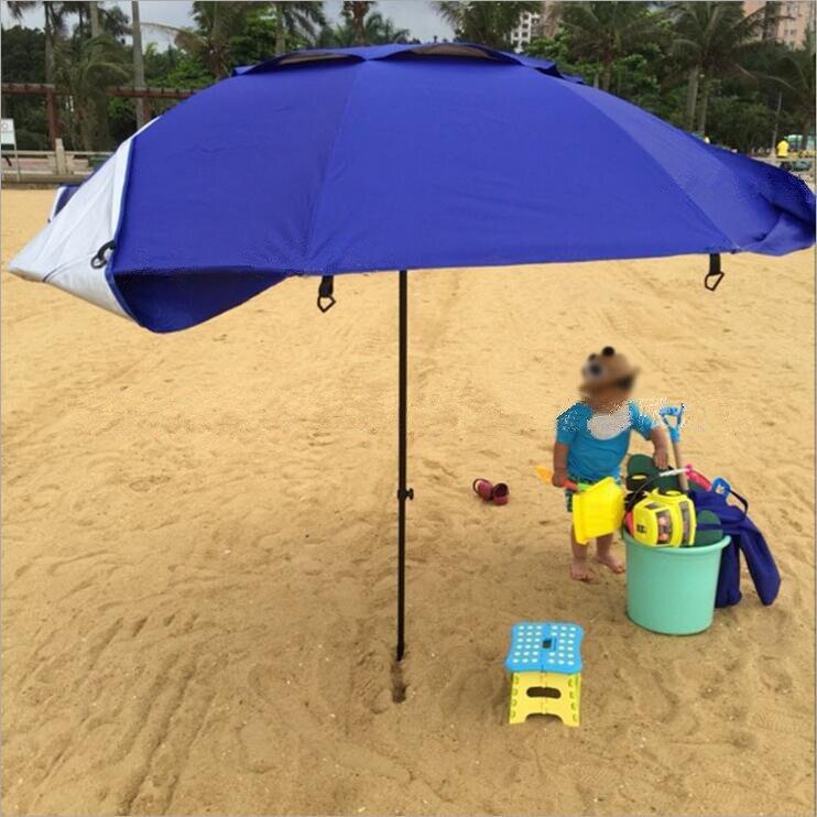 في الهواء الطلق الترفيه للطي المضادة للأشعة فوق البنفسجية الشاطئ مظلة-في مظلات من المنزل والحديقة على  مجموعة 2