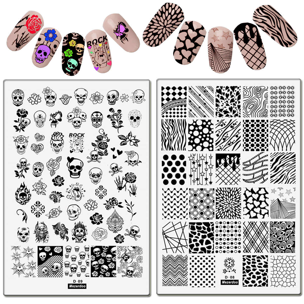 Cute Animals Flower Geometric Image Diy Nail Art Stamping Plates Steel Design Nail Plate Templates Stamps Stencil Collection