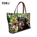 FORUDESIGNS Luxury Women Bags Printing Rottweiler Dog Top-handbag Neoprene Female Hand Bags Casual Women Shoulder Tote Bags